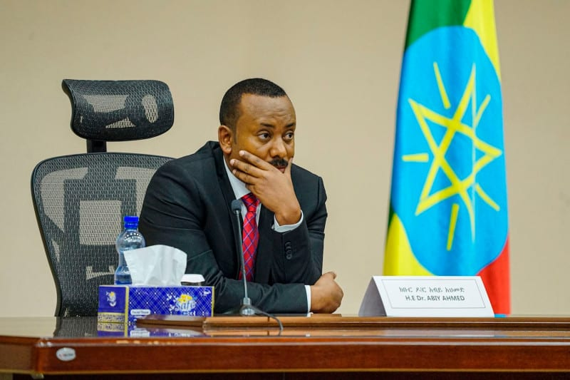 Ethiopian Prime Minister Abiy Ahmed looks on at the House of Peoples Representatives in Addis Ababa, Ethiopia, on Nov. 30, 2020. AMANUEL SILESHI/AFP VIA GETTY IMAGES